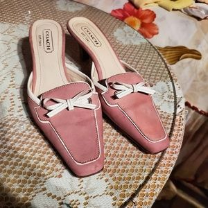 Vintage Coach pink Mules